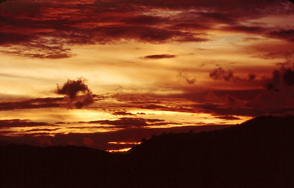 Sunset on the Gulf of Thailand in 1970. The sunsets were spectacular almost every evening.